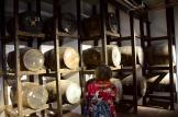 Mom inspecting the ex-bourbon casks.